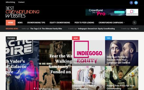Screenshot of Home Page best-crowdfunding-websites.com - Best Crowdfunding Websites - captured Aug. 26, 2016