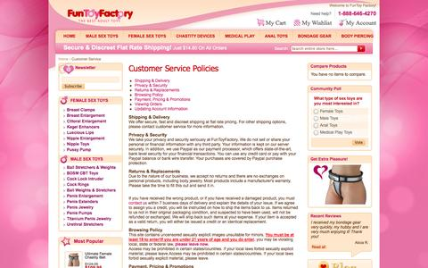 Screenshot of Privacy Page Support Page funtoyfactory.com - Customer Service - captured Oct. 23, 2014
