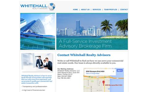 Screenshot of Contact Page whitehallrealtyadvisors.com - Welcome to Whitehall Realty Advisors - Commercial Real Estate. Investment Opportunities. - captured Oct. 7, 2014