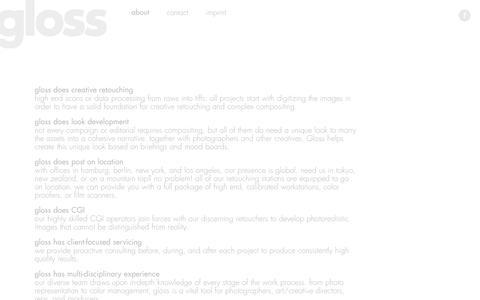 Screenshot of About Page gloss-postproduction.com - gloss-postproduction - captured Oct. 3, 2014