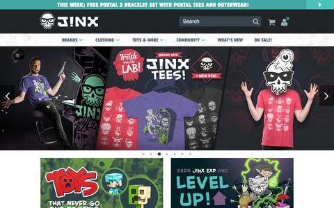 Screenshot of Home Page jinx.com - J!NX : Clothing Inspired by Video Games & Geek Culture - captured Oct. 1, 2015