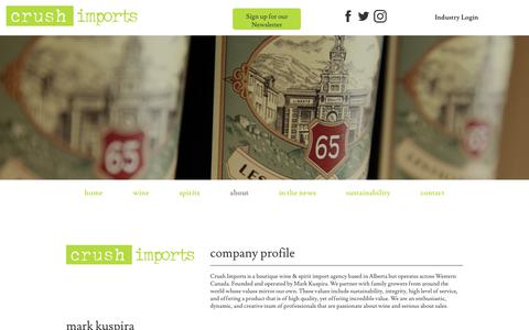 Screenshot of About Page crushimports.com - About Us | Crush Imports - captured Dec. 8, 2018
