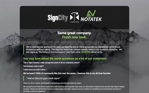 Screenshot of Home Page signcityonline.com - Notatek - captured July 10, 2018