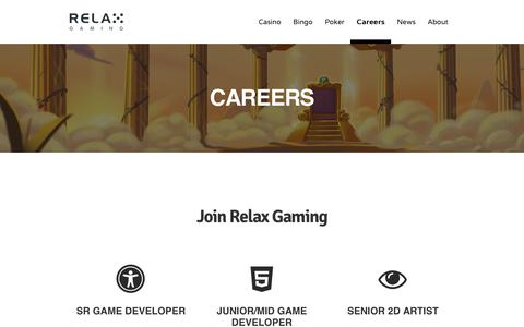 Screenshot of Jobs Page relax-gaming.com - CAREERS - Relax Gaming Ltd. - captured Oct. 18, 2018