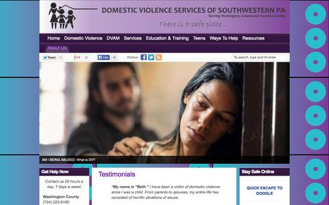 Screenshot of Testimonials Page peacefromdv.org - Testimonials | | Domestic Violence Services of Southwestern PA (DVSSP) - captured Oct. 5, 2014