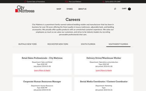 Screenshot of Jobs Page citymattress.com - Careers Southwest Florida - City Mattress - captured July 18, 2018