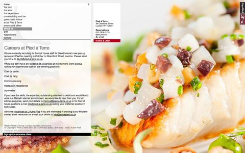Screenshot of Jobs Page pied-a-terre.co.uk - Michelin star, central London restaurant. Job opportunities, catering jobs | Pied à Terre - captured Sept. 30, 2014