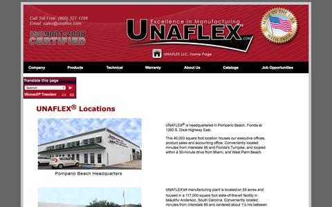 Screenshot of Locations Page unaflex.com - UNAFLEX Locations - captured Oct. 7, 2014