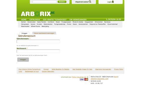 Screenshot of Login Page arborix.be - Gebruikersaccount | ARBORIX.be - captured Feb. 6, 2016