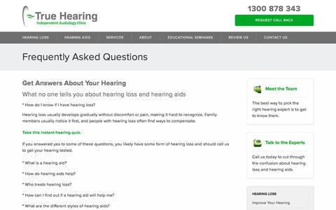 Screenshot of FAQ Page truehearing.com.au - Frequently Asked Questions | True Hearing - captured Nov. 14, 2017