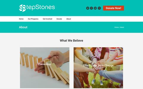 Screenshot of About Page stepstonesforyouth.com - About - StepStones for Youth - captured Feb. 19, 2018