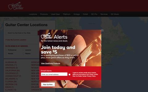 Screenshot of Locations Page guitarcenter.com - Guitar Center Store Locations - captured Sept. 24, 2016