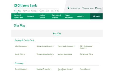Screenshot of Site Map Page citizensbank.com - Sitemap | Citizens Bank - captured Feb. 27, 2017