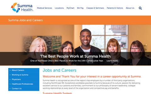 Screenshot of Jobs Page summahealth.org - Summa Jobs | Summa Careers - Summa Health Careers - captured Sept. 13, 2018