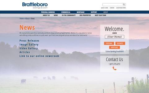 Screenshot of Press Page brattbank.com - Brattleboro Savings & Loan - News - captured Feb. 12, 2016