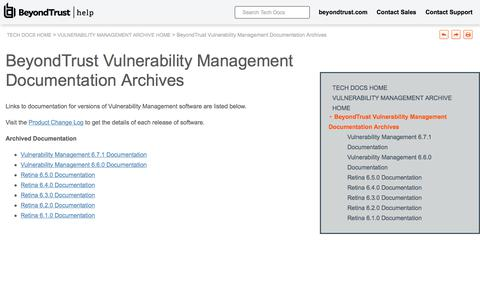 Screenshot of Team Page beyondtrust.com - BeyondTrust Vulnerability Management Documentation Archives - captured Jan. 3, 2020