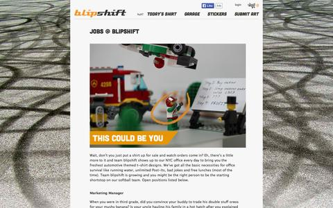 Screenshot of Jobs Page blipshift.com - Jobs @ blipshift   blipshift - captured Sept. 24, 2014