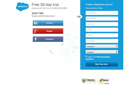 Screenshot of Trial Page salesforce.com - Free Trial - Salesforce 30-Day - Salesforce.com - captured Oct. 28, 2014