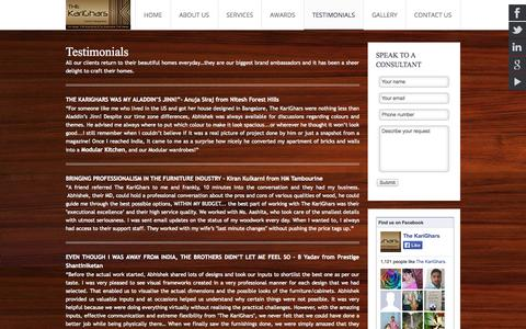 Screenshot of Testimonials Page thekarighars.com - Clients Testmonials , Review interior designers - The karighars - captured Oct. 9, 2014