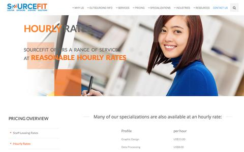 Screenshot of Pricing Page sourcefit.com - Outsourcing Hourly Rates | Sourcefit BPO Philippines - captured March 27, 2018