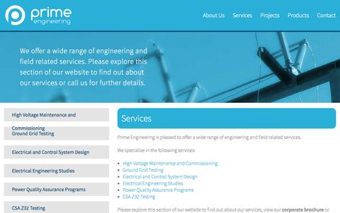 Screenshot of Services Page primeeng.ca captured Oct. 3, 2014