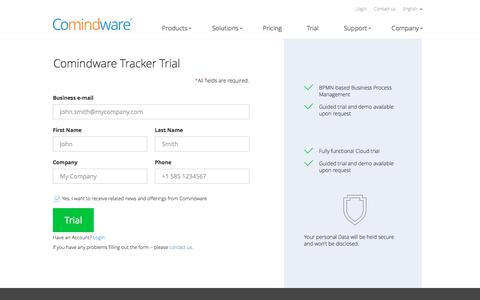 Screenshot of Trial Page comindware.com - Try Comindware Tracker - captured Aug. 12, 2018