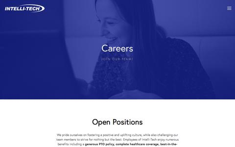 Screenshot of Jobs Page intelli-tech.com - Careers — Intelli-Tech - captured Sept. 19, 2018