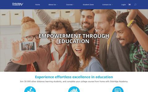 Screenshot of Home Page oxbridgeacademy.co.za - Home - Oxbridge Academy - captured Feb. 15, 2016