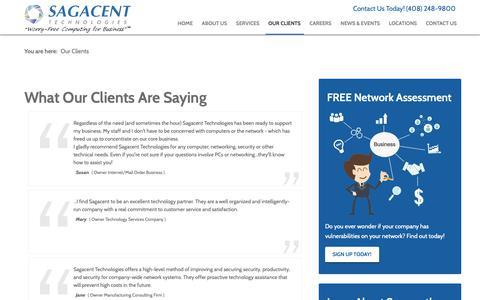 Screenshot of Testimonials Page sagacent.com - Testimonials   San Jose, CA   Sagacent Technologies - captured Oct. 1, 2018