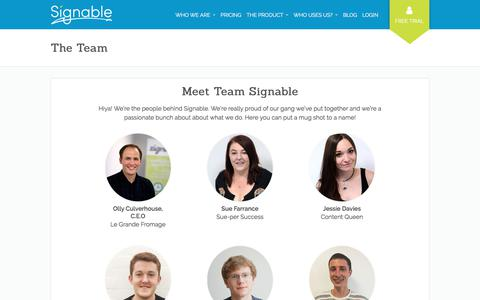 Screenshot of Team Page signable.co.uk - The Team - Signable - captured April 21, 2018