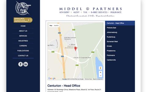Screenshot of Contact Page middel.co.za - Contact Information | Middel and Partners - captured Nov. 28, 2016