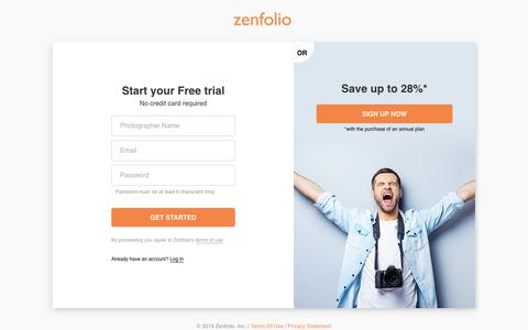 Screenshot of Trial Page zenfolio.com - Start Your Free Trial at Zenfolio.com - captured May 3, 2019