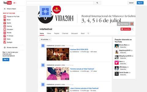 Screenshot of YouTube Page youtube.com - vidafestival  - YouTube - captured Nov. 3, 2014