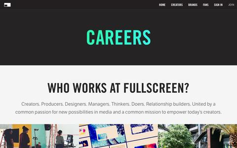 Screenshot of Jobs Page fullscreen.com - Careers - Fullscreen - captured Nov. 18, 2015