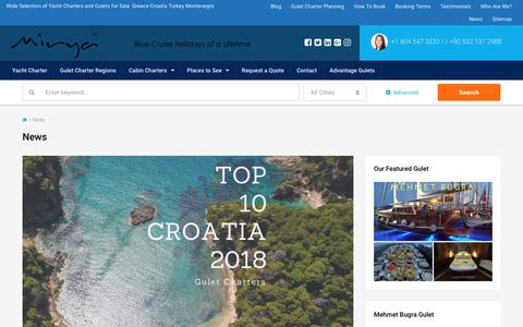 Screenshot of Press Page yachtsngulets.com - News by Mirya Yachting - Greece Turkey Croatia Montenegro - captured June 24, 2017