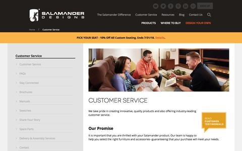 Screenshot of Support Page salamanderdesigns.com - Customer Service  - Salamander | Custom AV Furniture | Home Theater Seating - Salamander Designs - captured July 27, 2018
