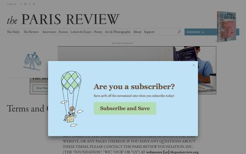 Screenshot of Terms Page theparisreview.org - Paris Review - Writers, Quotes, Biography, Interviews, Artists - captured Oct. 30, 2017