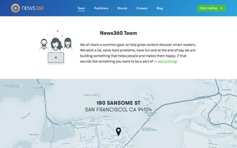 Screenshot of Team Page news360.com - Team | News360: Your personalized news reader app - captured Oct. 9, 2017