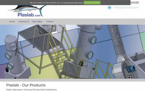 Screenshot of Products Page plaslab.com - Plaslab - Our Products - captured Dec. 3, 2018