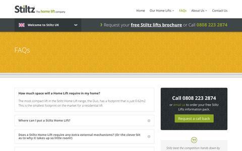 Screenshot of FAQ Page stiltz.co.uk - Frequently Asked Questions | Stiltz Home Lifts - captured Dec. 17, 2016