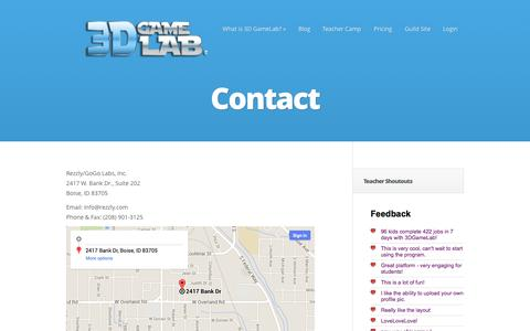 Screenshot of Contact Page 3dgamelab.com - Contact - 3D GameLab | 3D GameLab - captured Sept. 16, 2014