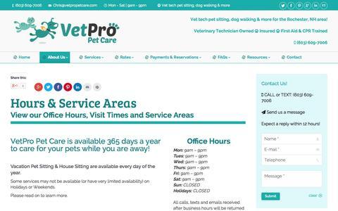 Screenshot of Hours Page vetpropetcare.com - VetPro Pet Care   VetPro Pet Care   Rochester, NH   Hours & Other Info - captured Oct. 26, 2014
