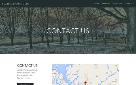 Screenshot of Contact Page caputellc.com - Contact — Charles T. Capute LLC - captured March 18, 2016