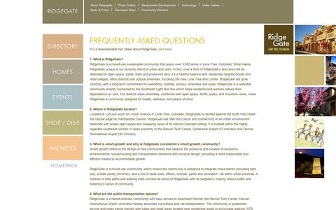 Screenshot of FAQ Page ridgegate.com - RidgeGate Frequently Asked Questions - captured Oct. 6, 2014
