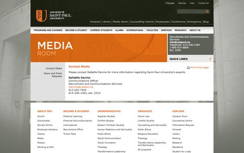 Screenshot of Press Page ustpaul.ca - Media Room - Contact media - captured Oct. 4, 2017