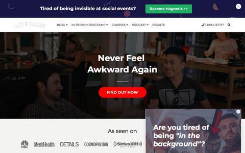 Screenshot of Home Page theartofcharm.com - Advanced Social Skills Training for Top Performers | The Art of Charm - captured Nov. 14, 2019