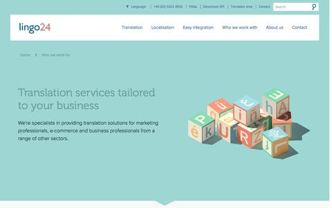 Screenshot of lingo24.com - Industry-­Tailored Translation Services | Lingo24 - captured March 19, 2016