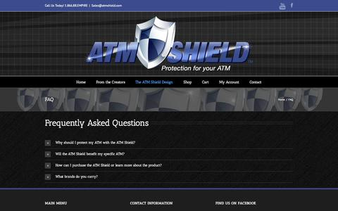 Screenshot of FAQ Page atmshield.com - ATM Shield   –  FAQ - captured Sept. 30, 2014