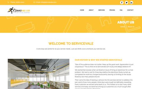 Screenshot of About Page servicevale.com - Servicevale.com | The Best On-Call Handyman | Carpentry services | Electrician in Bangalore | Plumber services | Car Wash services - captured Nov. 18, 2016