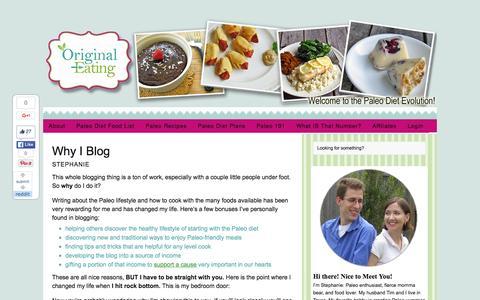 Screenshot of Blog originaleating.com - Why I Blog - Original Eating - captured Feb. 18, 2016
